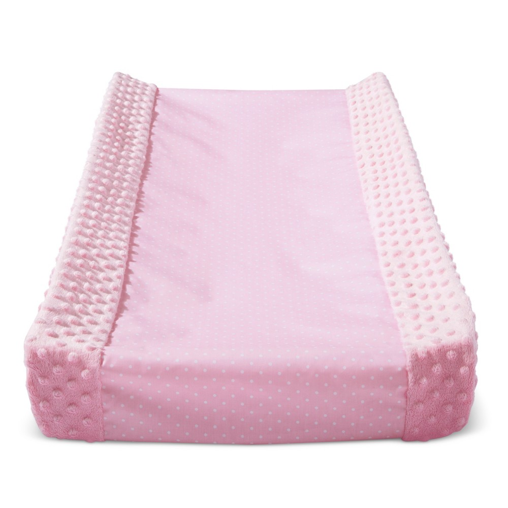 Wipeable Changing Pad Cover With Plush Sides Dots Cloud Island 8482 Pink
