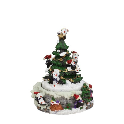 """Northlight 6"""" Animated Penguin and Christmas Tree Winter Scene Rotating Musical Decoration - image 1 of 2"""