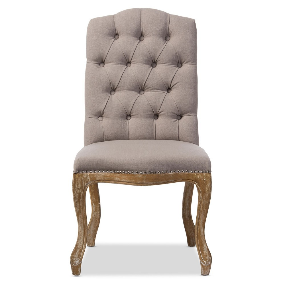 Hudson Weathered Oak Finish and Fabric Button Tufted Upholstered Dining Chair Beige - Baxton Studio