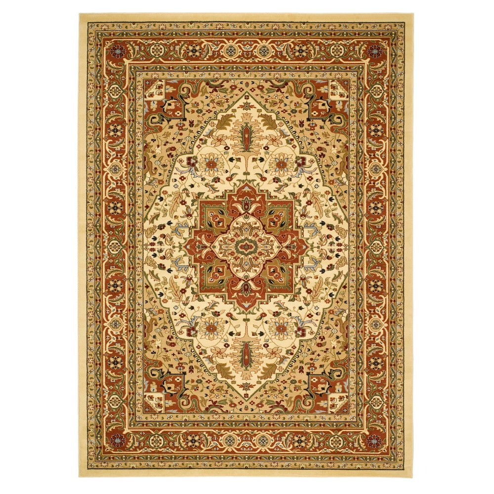 Ivory/Rust Floral Loomed Area Rug 5'3