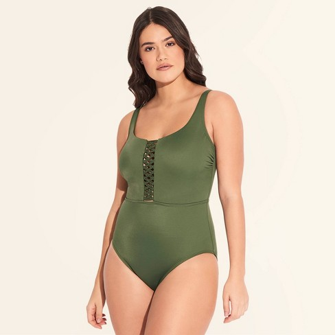 5310ad18 Women's Slimming Control Macrame One Piece Swimsuit - Beach Betty By  Miracle Brands Olive M : Target