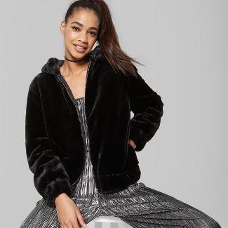 Women's Fuzzy Faux Fur Zip-Up Jacket - Wild Fable™ Black XL