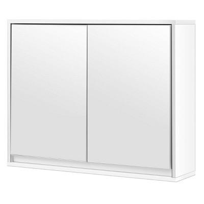 Costway Wall Mounted Bathroom Storage Cabinet Double Mirror Door Organizer Shelf White