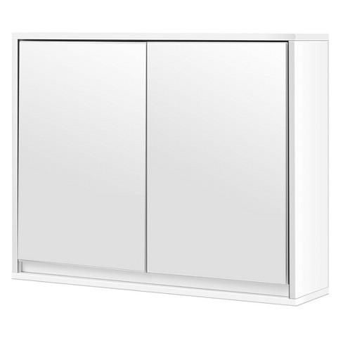 Costway Wall Mounted Bathroom Storage Cabinet Double Mirror Door Organizer Shelf White - image 1 of 4