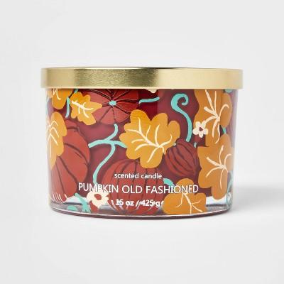15oz Lidded Glass Jar Leaf Print 3-Wick Pumpkin Old Fashioned Candle - Opalhouse™