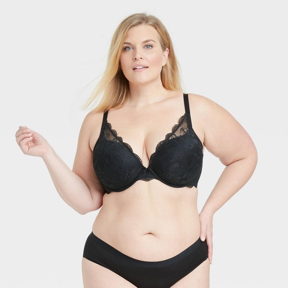 Women 39 S Plus Size Sublime Lace Plunge Push Up Bra Auden 8482 Black 42c