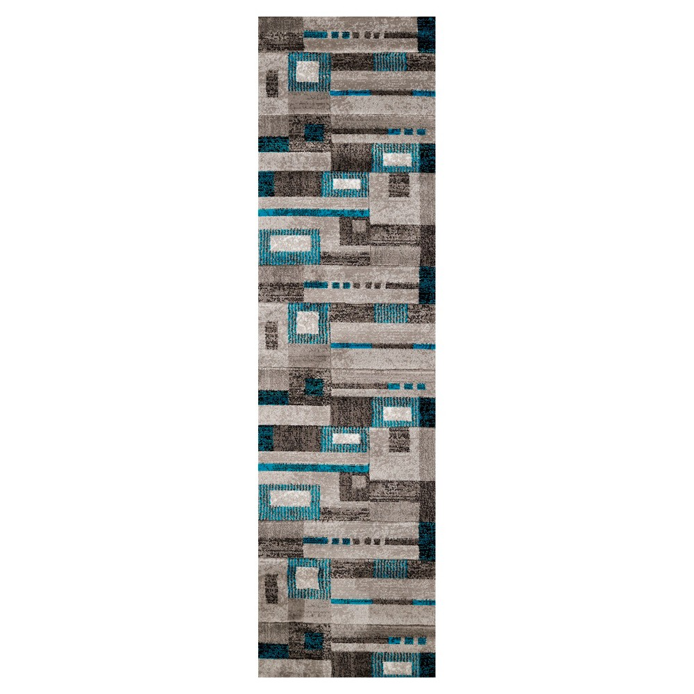 Image of Aqua Geometric Hooked Runner - (2'x7) - United Weavers