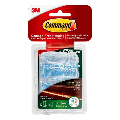 Command Outdoor Rope Light Clips with Foam Strips Clear