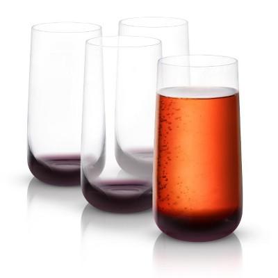 JoyJolt Black Swan Highball Glasses - Set of 4 Premium Crystal Glassware - 18.2 oz