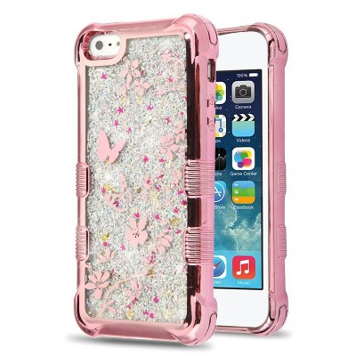 MyBat Tuff Quicksand Glitter Hard Dual Layer Plastic TPU Case For Apple iPhone 5/5S/SE - Rose Gold