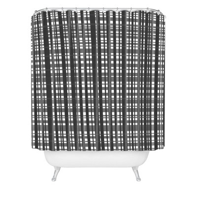 Lisa Argyropoulos Holiday Plaid Modern Coordinate Christmas Shower Curtain Black/White - Deny Designs