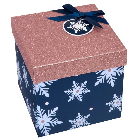 Formal Square Christmas Gift Box Rose Gold Glitter/ Navy Snowflake ...