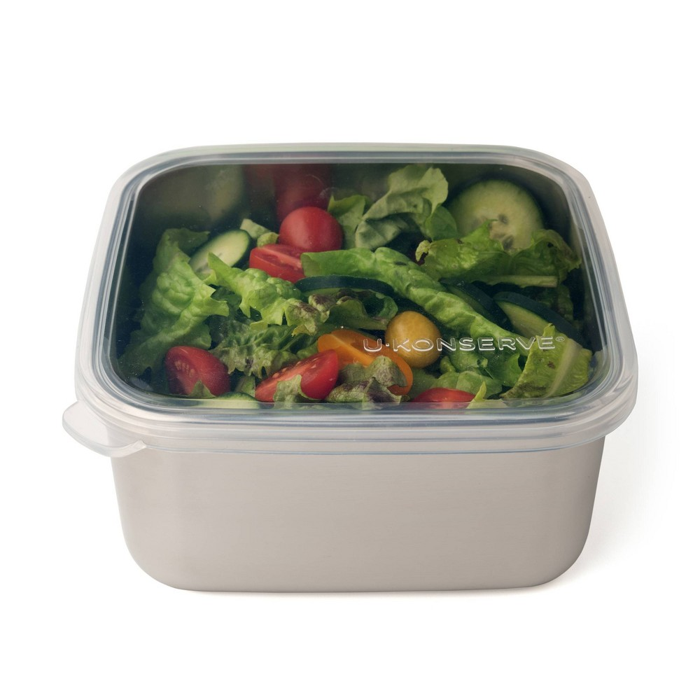 U Konserve To Go Stainless Steel Food Storage Container Square 50oz Clear Silicone Lid