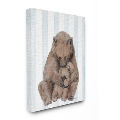 Stupell Industries Charming Family Bear and Baby Cub Blue Stripe Nursery Illustration