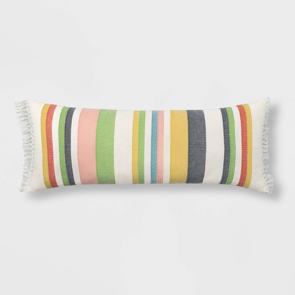 Image of Oversized Oblong Woven Stripe Throw Pillow Multi - Threshold