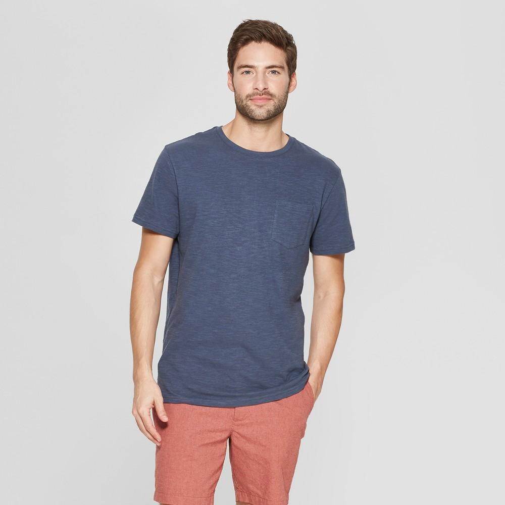 Men's Standard Fit Short Sleeve Crew T-Shirt - Goodfellow & Co Subdued Blue L