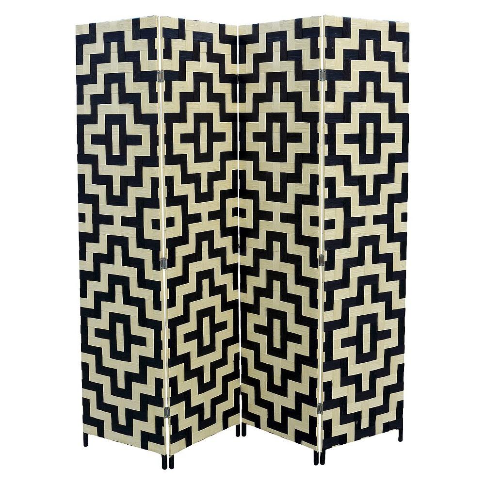 4 Panel Paper Straw Weave Screen On 2 Legs Black White Ore International