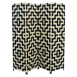"4 Panel Paper Straw Weave Screen on 2"" Legs Black/White - Ore International"