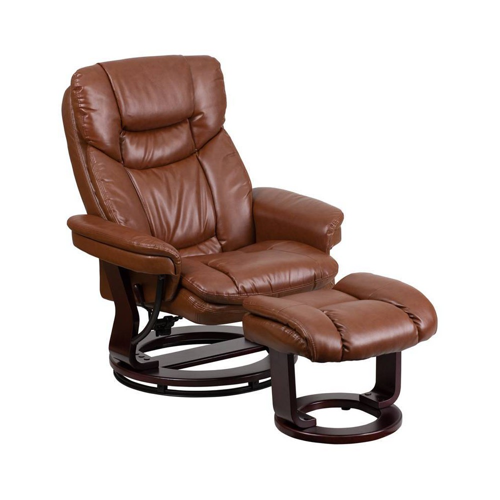 Image of 2pc Vintage Contemporary Multi Position Recliner and Ottoman Set Brown - Riverstone Furniture Collection, Brown Vintage