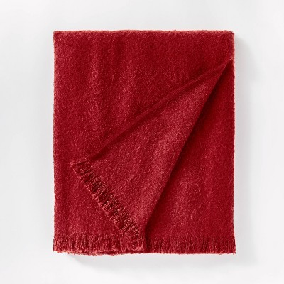 Boucle Faux Mohair Throw Blanket Red - Threshold™ designed with Studio McGee