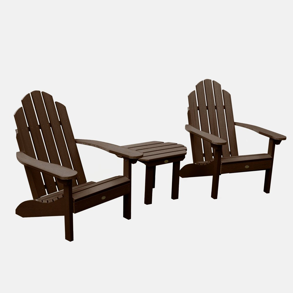 Image of 3pc Classic Westport Adirondack Chair Patio Set Weathered Acorn - highwood