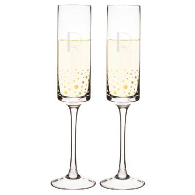 2ct Monogram Gold Dot Champagne Flute - R