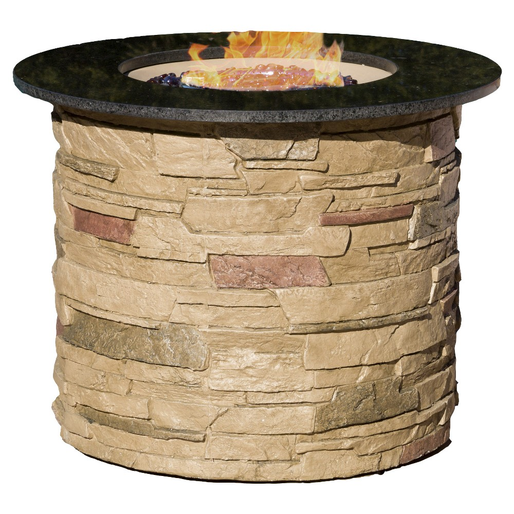 """Image of """"Hoonah 32"""""""" Stone MGO Gas Fire Pit - Circular - Natural Stone - Christopher Knight Home"""""""