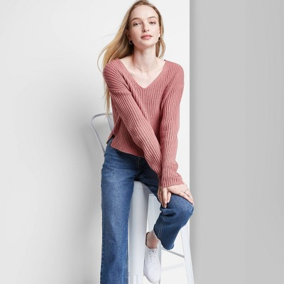 Women's V-Neck Rib Knit Pullover Sweater - Wild Fable™