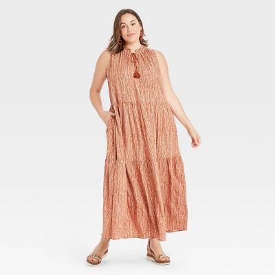 Women's Plus Size Sleeveless Tiered Dress - Ava & Viv™