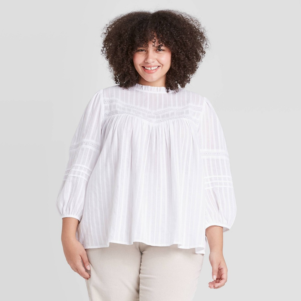 Victorian Plus Size Dresses | Edwardian Clothing, Costumes Womens Plus Size 34 Sleeve Prairie Shirt - Universal Thread White 4X $21.24 AT vintagedancer.com