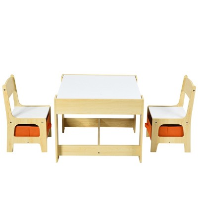 Costway Kids Table Chairs Set With Storage Boxes Blackboard Whiteboard Drawing GreyNature