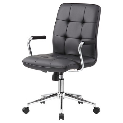Modern Office Chair with Chrome Arms Black - Boss Office Products