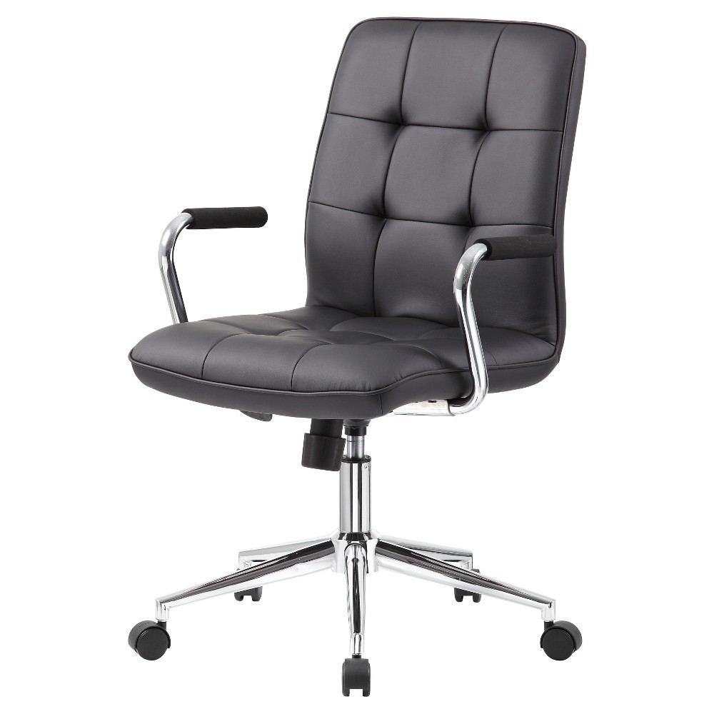 This Black Modern Task Chair is beautifully upholstered with ultra-soft Caressoft. Its high crown chrome base provides enhanced stability, and the chrome arms provide elegant and comfortable arm rests. It has an upright locking position feature, providing comfortable back support. The pneumatic adjustable gas lift allows for easy seat height adjustment, to help you find the personalized sitting style that suits you and your work environment. The adjustable tilt tension control allows you to customize the optimal angle at which you sit. The hooded double wheel casters make it easy to move and shift directions. Gender: unisex.