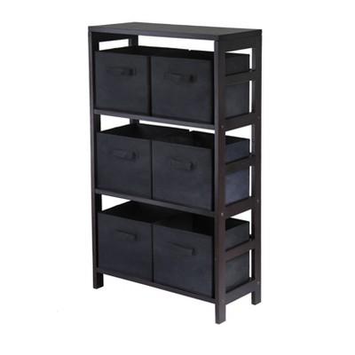 7pc Capri Set Storage Shelf with Folding Fabric Baskets Espresso Brown - Winsome