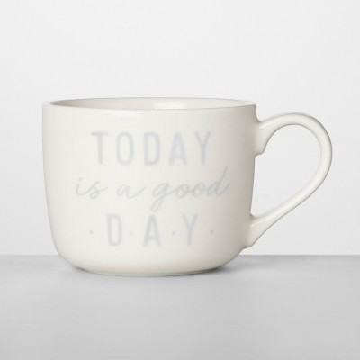 14oz Porcelain Today Is A Good Day Mug White/Gray - Opalhouse™