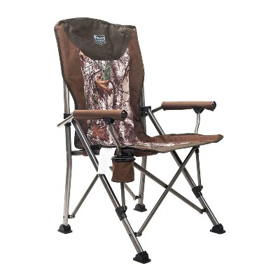Timber Ridge Indoor Outdoor Portable Lightweight Folding Camping High Back Lounge Chair w/ Cup Holder and Carry Bag for Hiking, Beach, and Patio, Camo