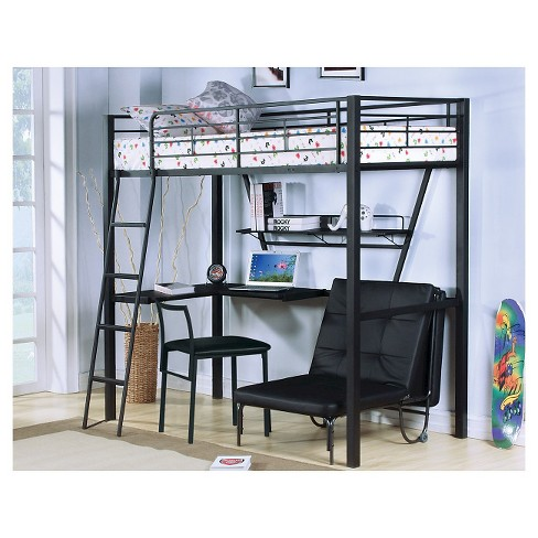Senon Kids Loft Bed With Desk Silver And Black Target