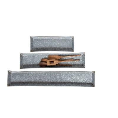 Galvanized Metal Tray - Set of 3 - 3R Studios