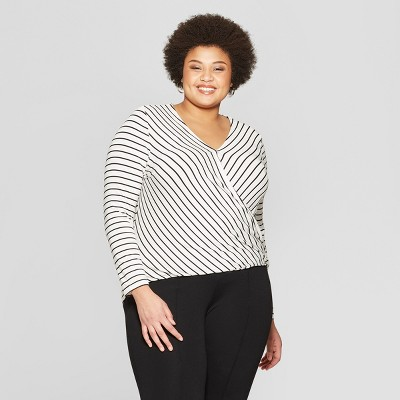 f72bce548b4eb2 Women s Plus Size Striped Long Sleeve V-Neck Top - Ava   Viv™ Black