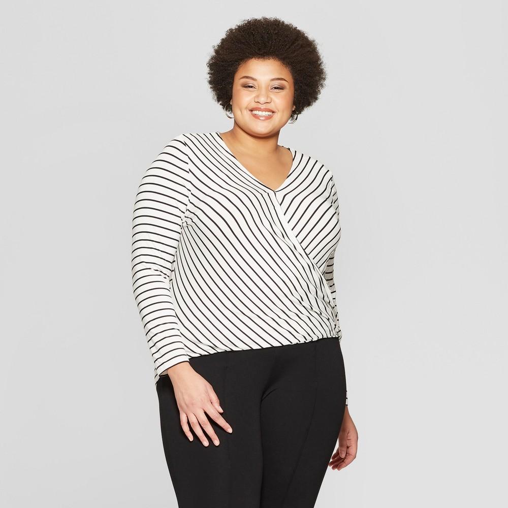 Women's Plus Size Striped Long Sleeve V-Neck Top - Ava & Viv Black/White 1X