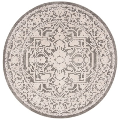 "6'7"" Round Floral Loomed Area Rug Dark Gray/Cream - Safavieh"