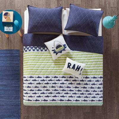 Luke Cotton Duvet Bedding Set Green/Navy