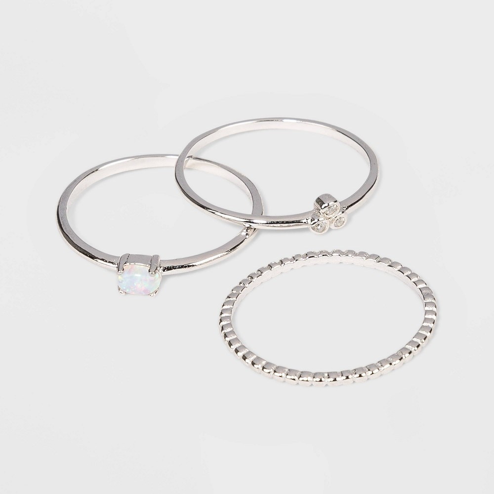 Sterling Silver with Opal and Cubic Zirconia Beaded Band Stacking Ring Set 3pc - A New Day Silver 8