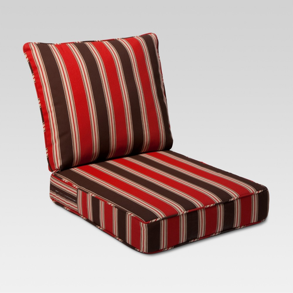 Image of Rolston 2pc Outdoor Seat & Back Replacement Chair/Loveseat Cushion Set Red Stripe - Grand Basket