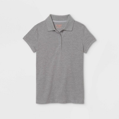 Girls' Short Sleeve Stretch Pique Uniform Polo Shirt - Cat & Jack™ Gray