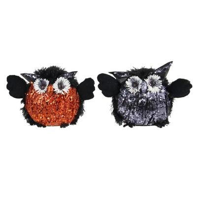"Northlight 8"" Sequin Crinkle Standing Owl's Halloween Decoration 2ct - Orange/Black"