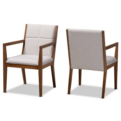 Set of 2 Theresa Fabric Upholstered Wood Living Room Accent Chair - Baxton Studio