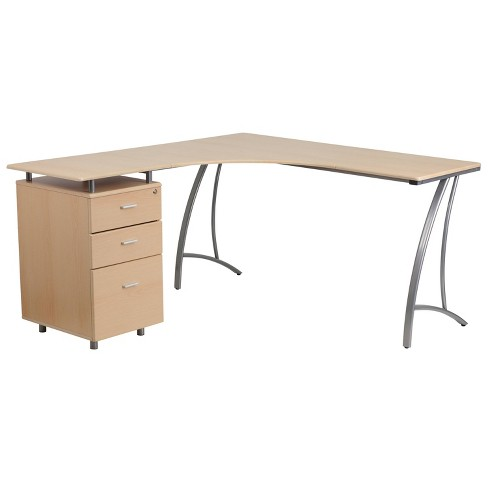 Laminate L - Shape Desk with Three Drawer Pedestal - Riverstone Furniture Collection - image 1 of 3