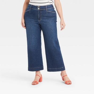 Women's Plus Size High-Rise Wide Leg Jeans - Ava & Viv™ Dark Wash