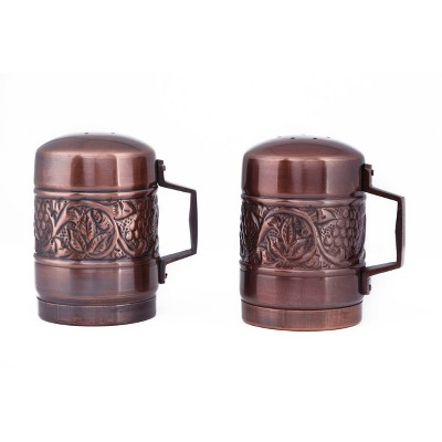 Old Dutch 2pc Stainless Steel Antique Embossed Heritage Stovetop Salt and Pepper Set